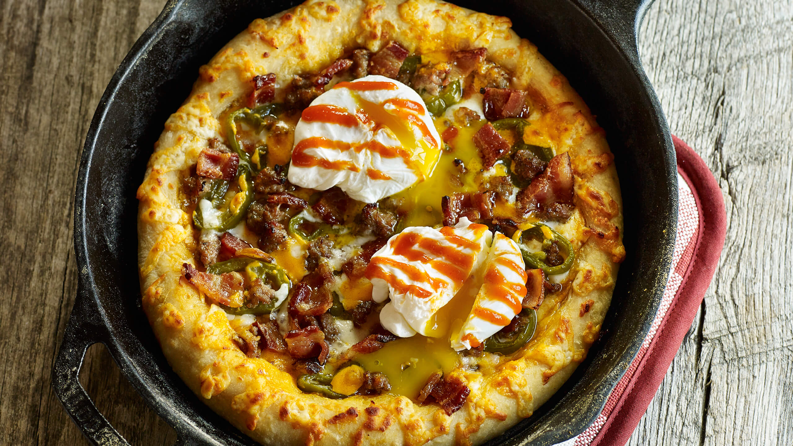 Sriracha Bacon Breakfast Pizza