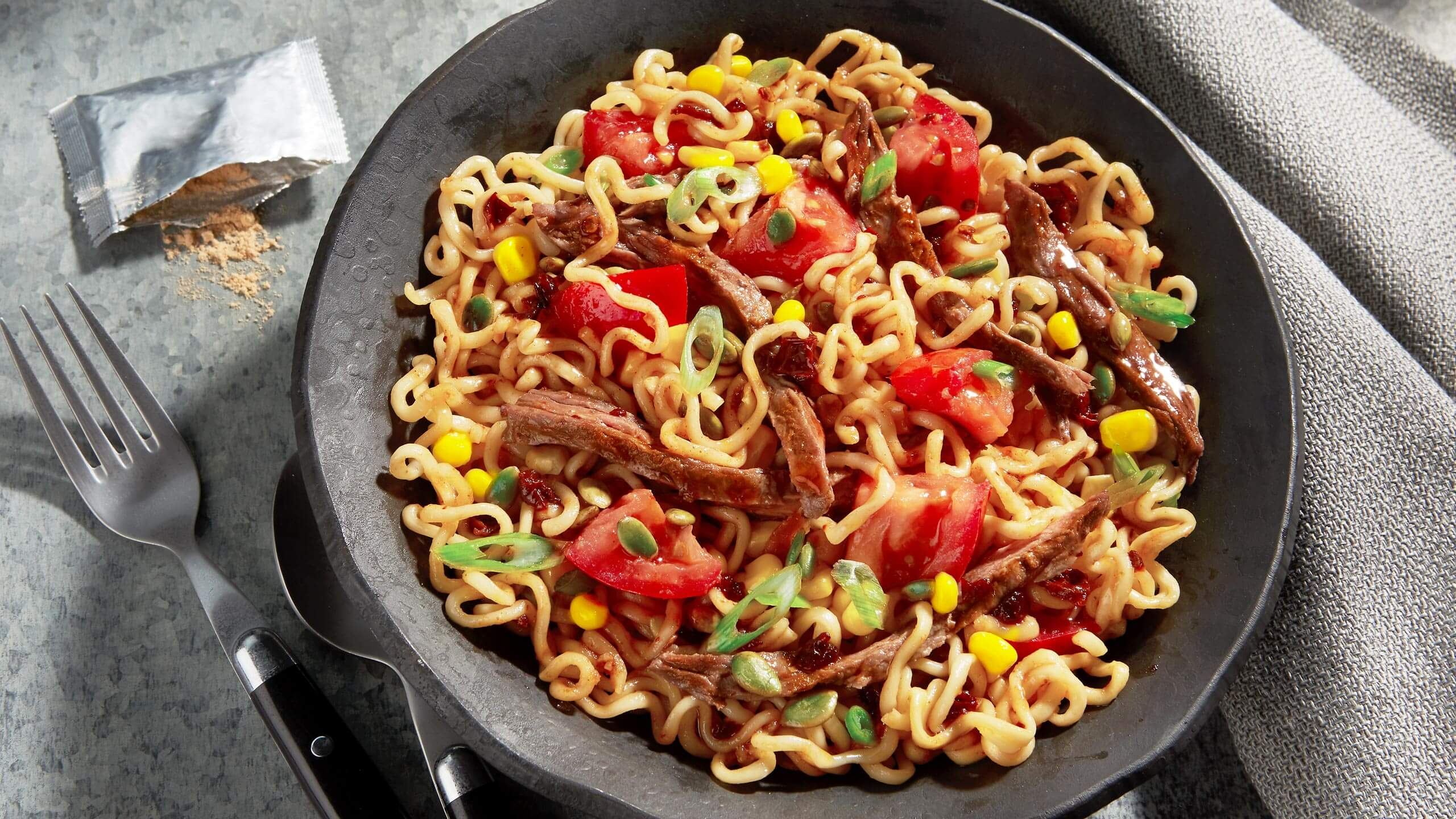 Chipotle Sesame Noodles with Steak