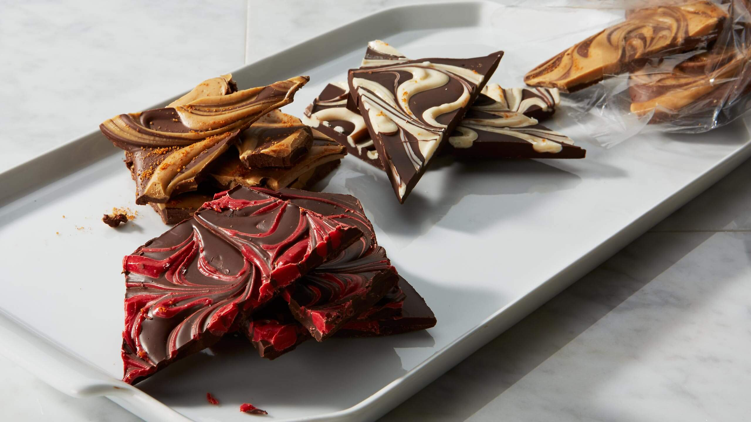 Marbled Chipotle Chocolate Bark
